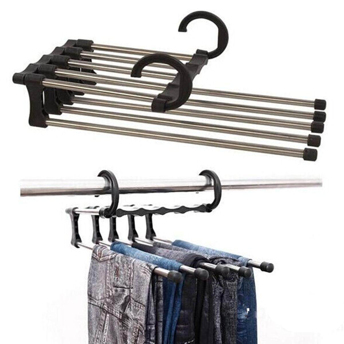 Stainless Steel Multifunction Retractable Trousers Hanger Jeans Holder By Moonbeam.