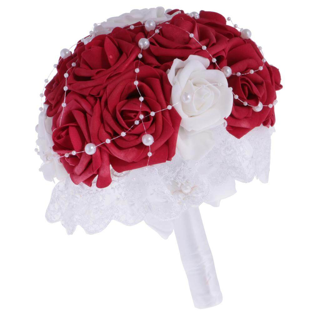 GuangquanStrade Wedding Flowers Bride Bridesmaids Bouquet Flowergirls Wedding Party Prom Red