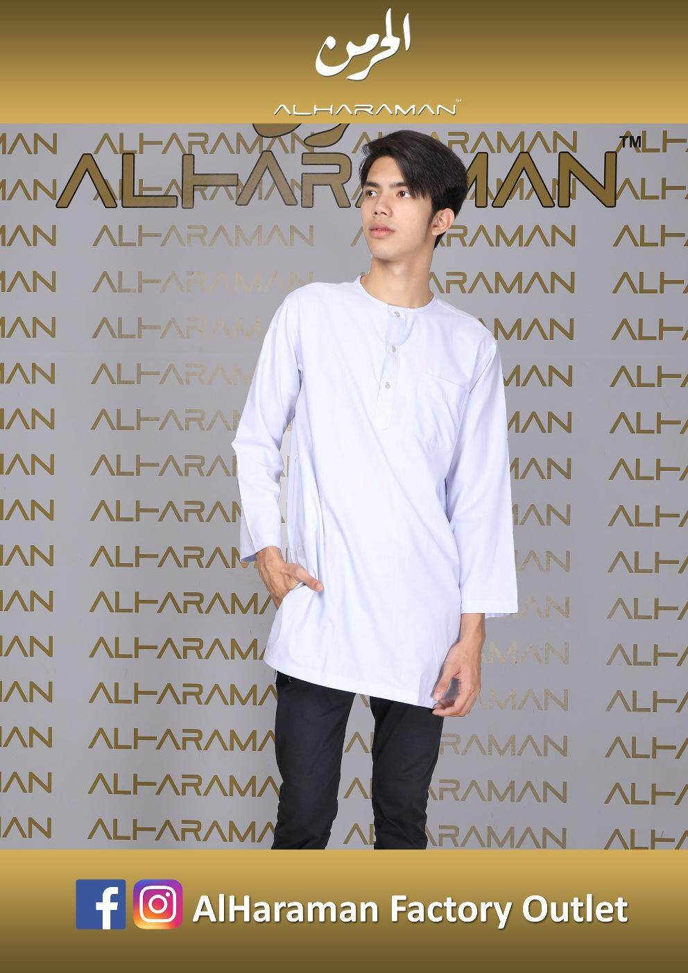 Al-Haraman Kurta Linen Button White Baju Raya No Collar