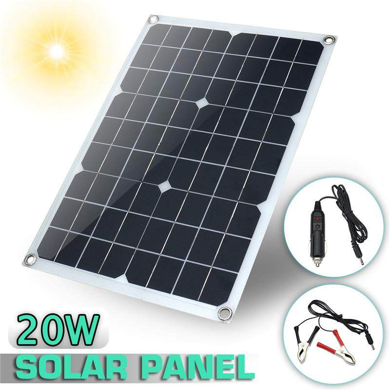 20W 12V 5V Waterproof Solar Panel Usb Car Charger For Emergency Light Camping Intl Price Comparison