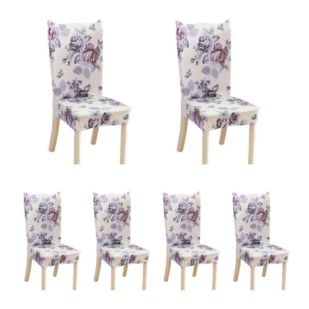 BuyBowie 6 Pcs Soft Short Dining Room Chair Covers with Printed Pattern, Chair Protector Seat Slipcover for Hotel,Dining Room,Ceremony,Banquet Wedding Party