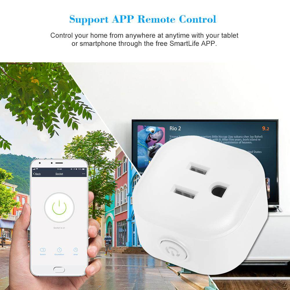 Mini Wifi Smart Socket with Bulgy On/Off Button Smart Alexa Outlet Support APP Remote Control Timing Function Voice Control for Amazon Alexa for Google Home/Nest IFTTT No Hub Required Smart Home Plug (1 Pack) - intl