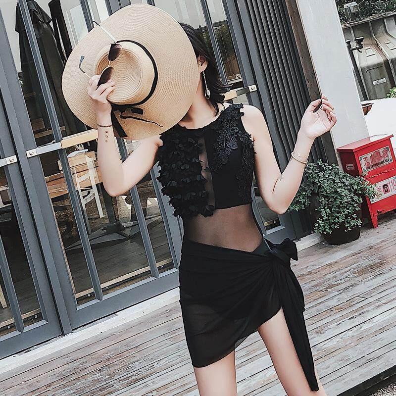 Nơi bán 2 Pieces (Swimsuit+Yarn Skirt) 2018 Women Fashion Beachwear Embroidery Sleeveless Pad Slim Swimsuit Bathing Suit - intl