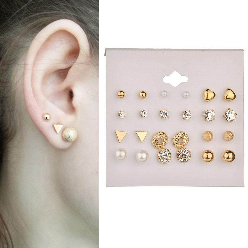 0fa20586620a 12 Pair  Set blackhorse IF YOU Charm Geometric Stud Earrings Mix Set Crystal  Alloy Stud