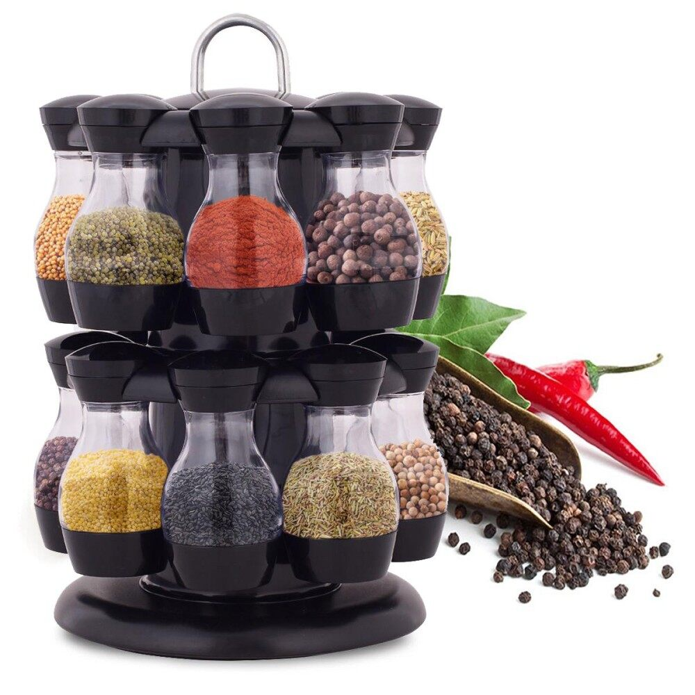 8ce6e3001543 5PCS 16 Jar Rotating Spice Rack Carousel Kitchen Storage Holder Condiments  Container - intl