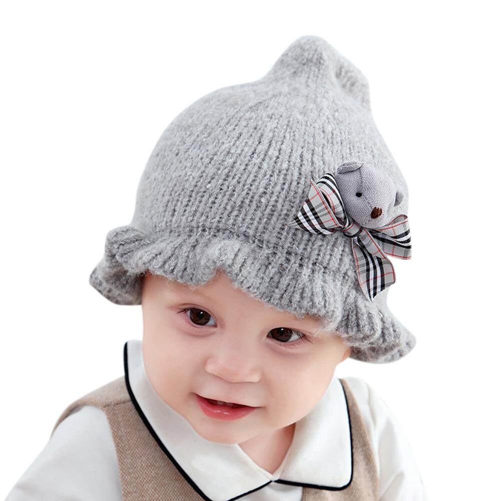 HiQueen Bé Dệt Kim Nắp Hoạt Hình Dễ Thương Gấu Len Sợi Bóng Xù Lông Vành Mũ Ấm Áp Cap dành cho Trẻ Em
