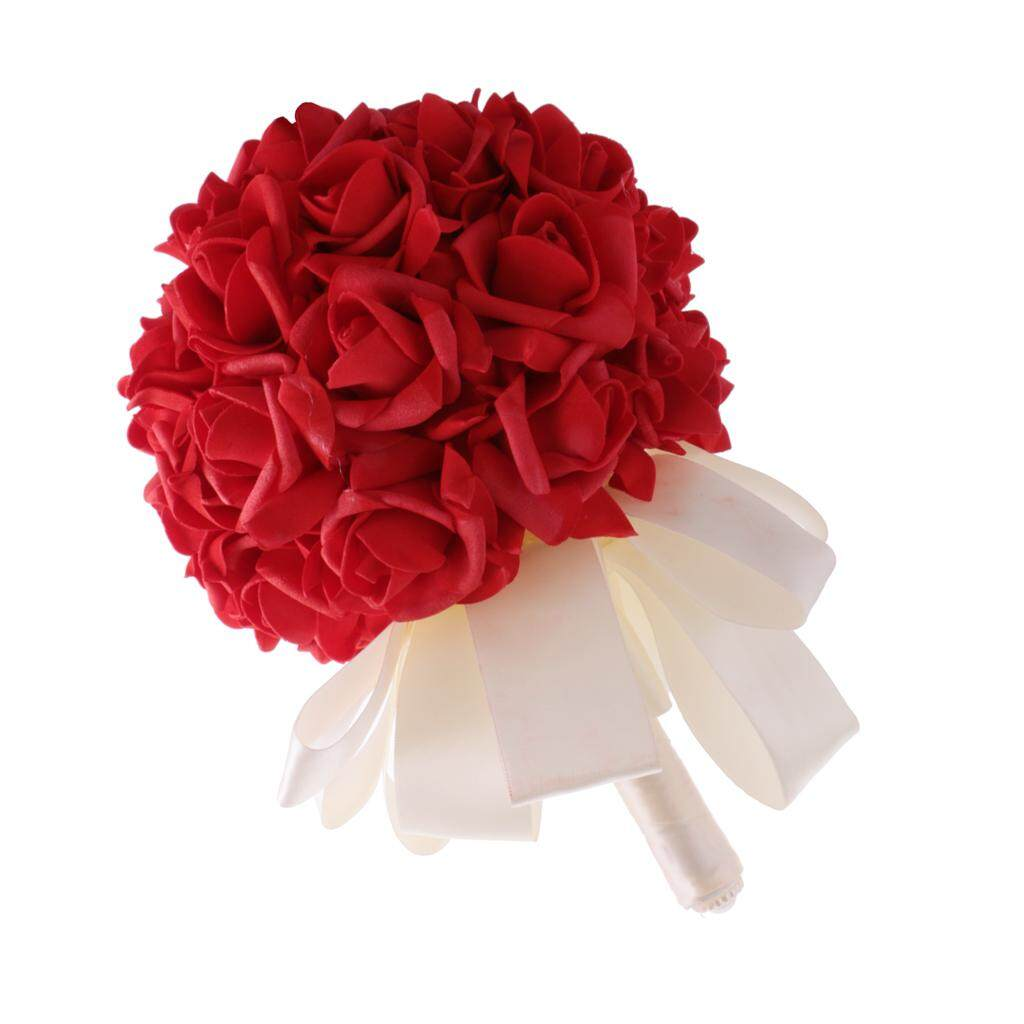 GuangquanStrade Artificial Roses Flower Wedding Bride Bridesmaid Bouquet Satin Handle Red