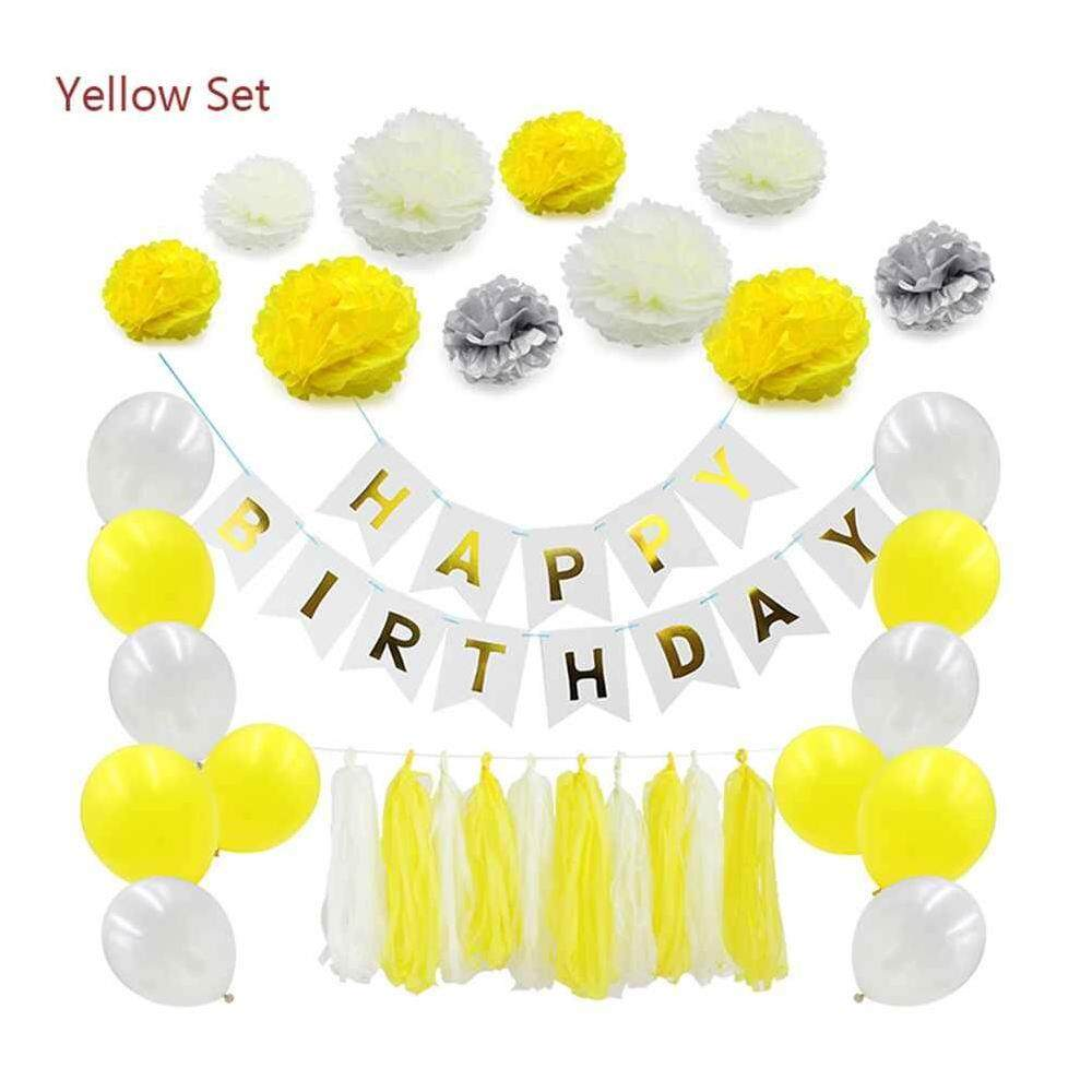Hình ảnh Airforce Styles Birthday Party Decorations DIY Paper Flower Pompoms Tassels Happy Birthday Banners Party Supplies