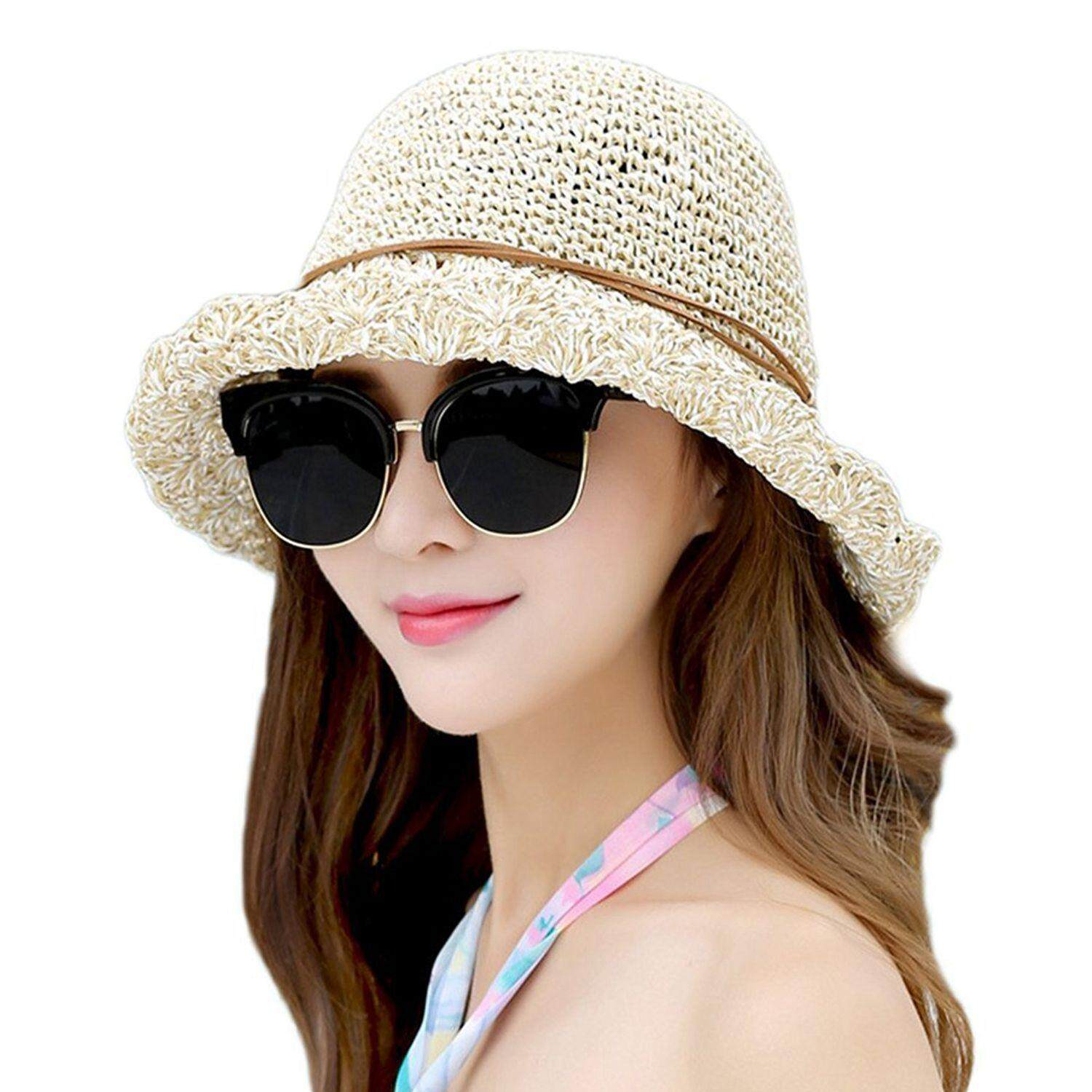Sun Hat Bucket Girls Lady Beach Straw Hat Summer Sun Protection Packable  Foldable Cap Bow- 463c219035c6