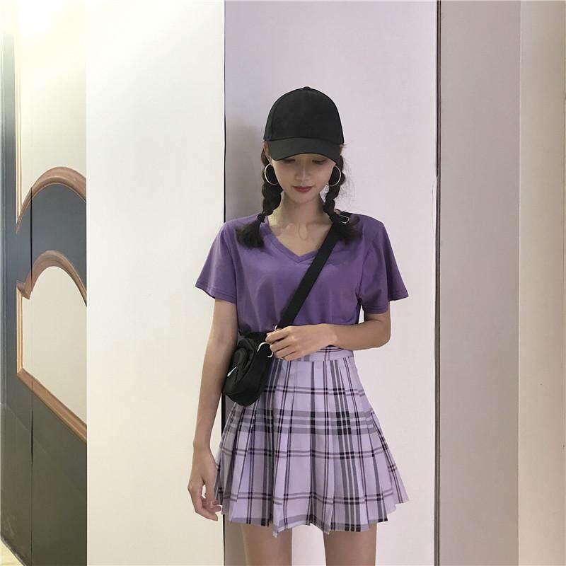 Umee gaya Korea yang Chic longgar Kerah V lengan pendek warna ungu baju kaos musim panas