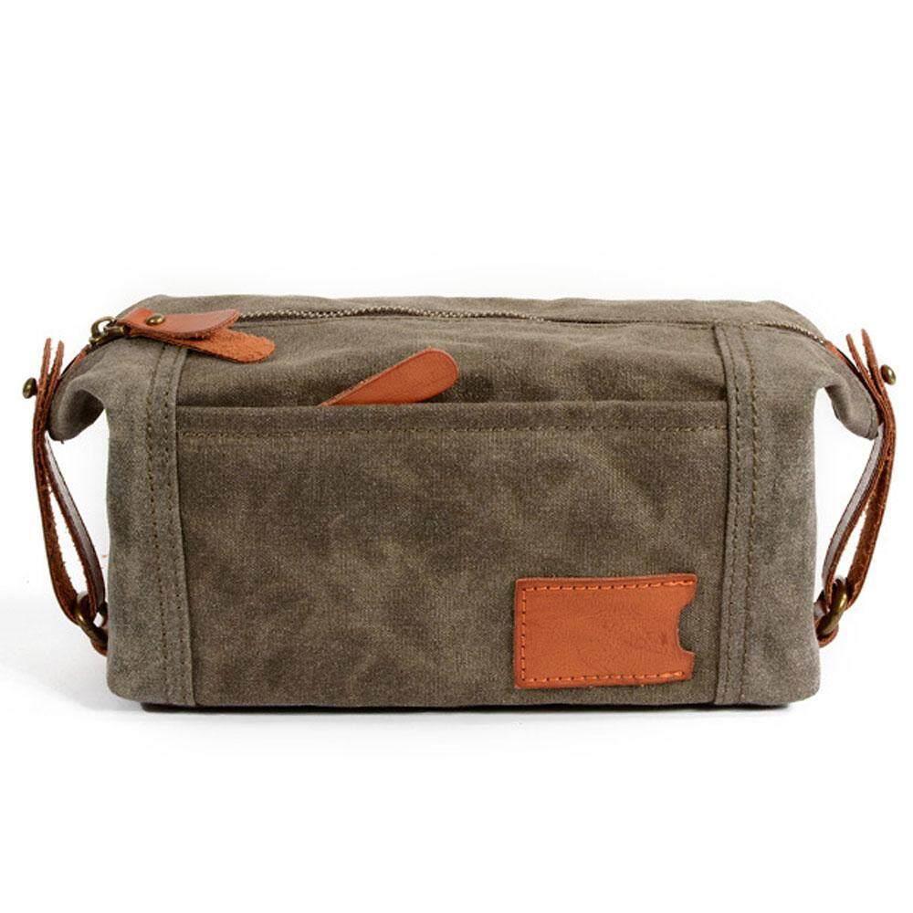 46614412019f Kobwa Waterproof Oil Wax Men Canvas Clutch Bag Business Small Handbag Phone Purse  Casual Canvas Wrist