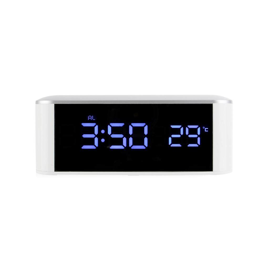 Household LED electronic clock mirror clock home thermometer with USB Digital Desk Alarm LED Electronic Clock(Blue light) - intl