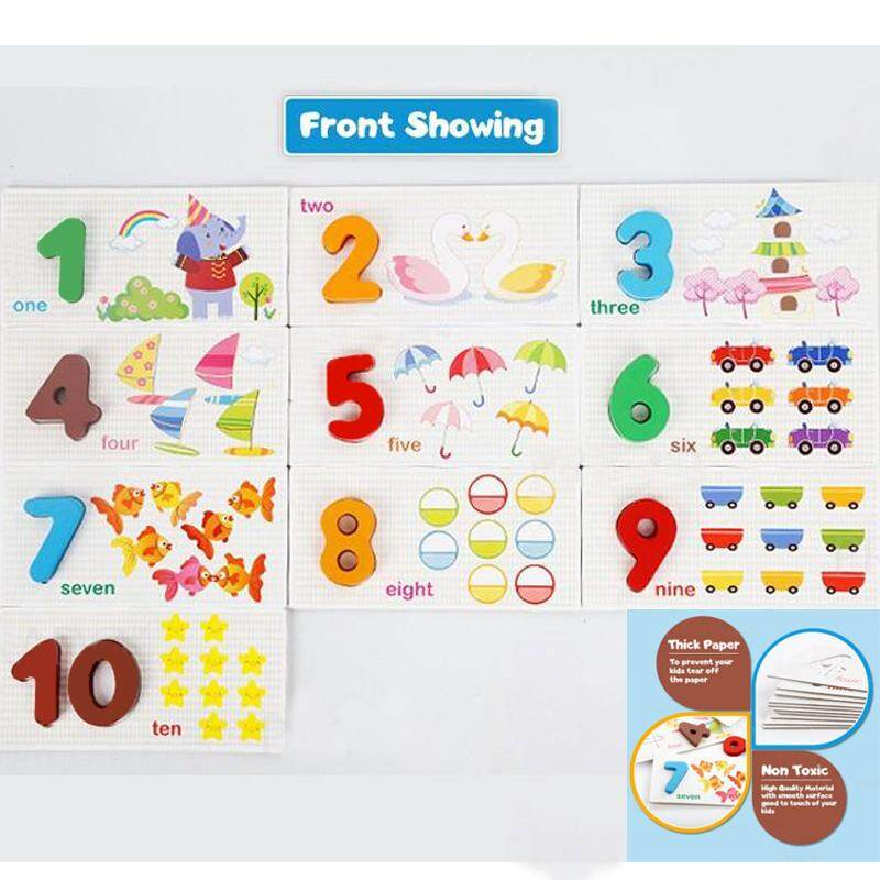 Educational Wood Puzzle Toy Funny Kids Digital Early Learning Cards High Quality