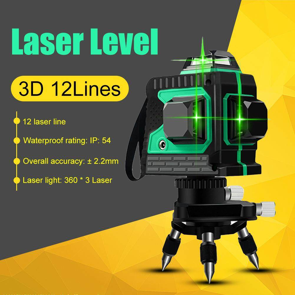 3D 12 Đường Laser Xanh Mức Tự Cân Bằng Độ Cao 360 Ngang Và Dọc Chéo Siêu Mạnh Tia Xanh Dòng