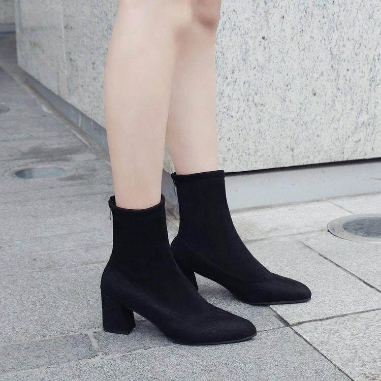 Boot pendek hak tinggi perempuan Boots Martin ala Inggris 2018 model baru musim semi dan musim