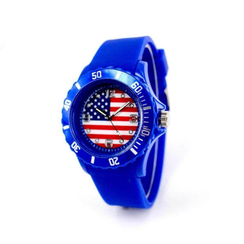 huyia World Cup 2018 Flag Pattern Dial Silicone Band Analog Quartz Wrist Watch Soft United States Malaysia