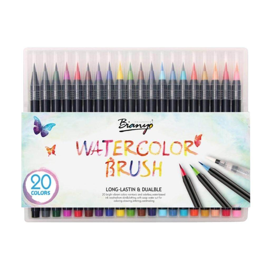 Bolehdeals 20 Color Watercolor Brush Pens Set Soft Brush Marker For Drawing Calligraphy By Bolehdeals.