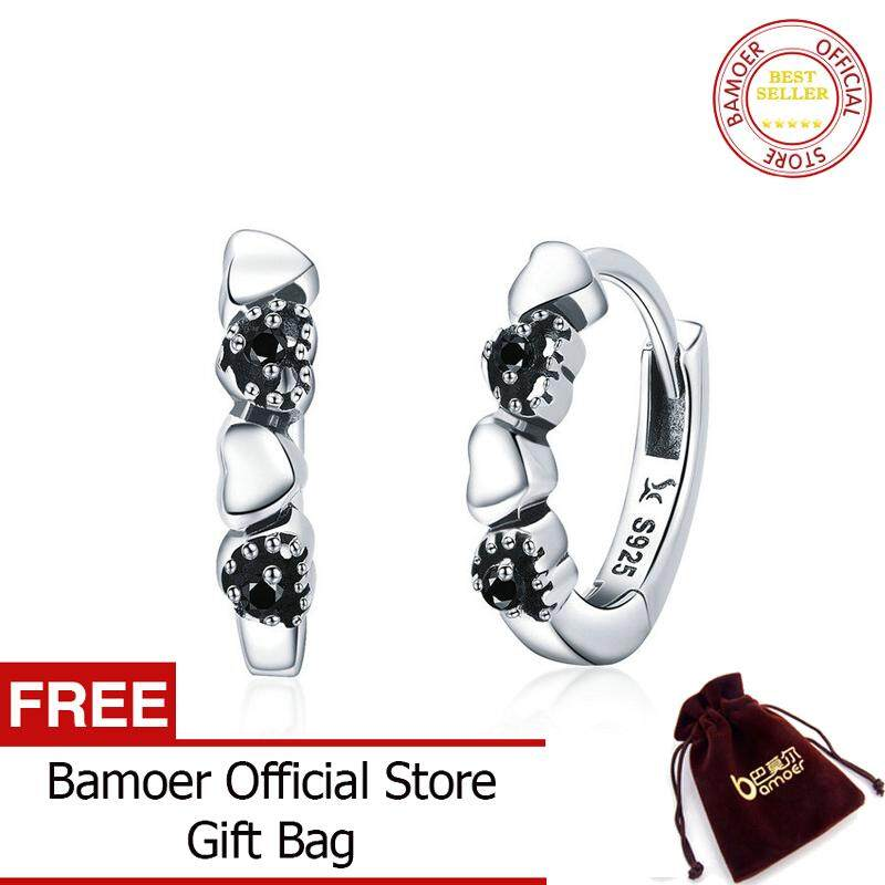c2f76930229f3 BAMOER Free Shpping October Elegant Genuine 925 Sterling Silver Heart to  Heart Hoop Earrings for Women Sterling Silver Fine Jewelry Gift SCE445