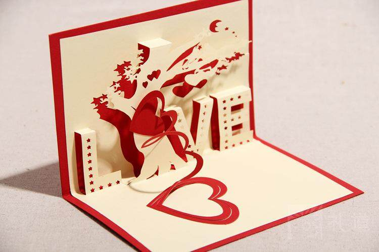 3D Love under the tree card