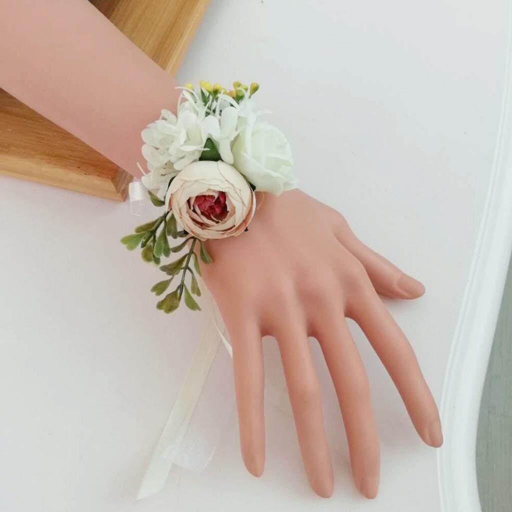 GuangquanStrade Silk Wedding Wrist Flowers Wrist Hand Rose Vintage Roses Flower Decor