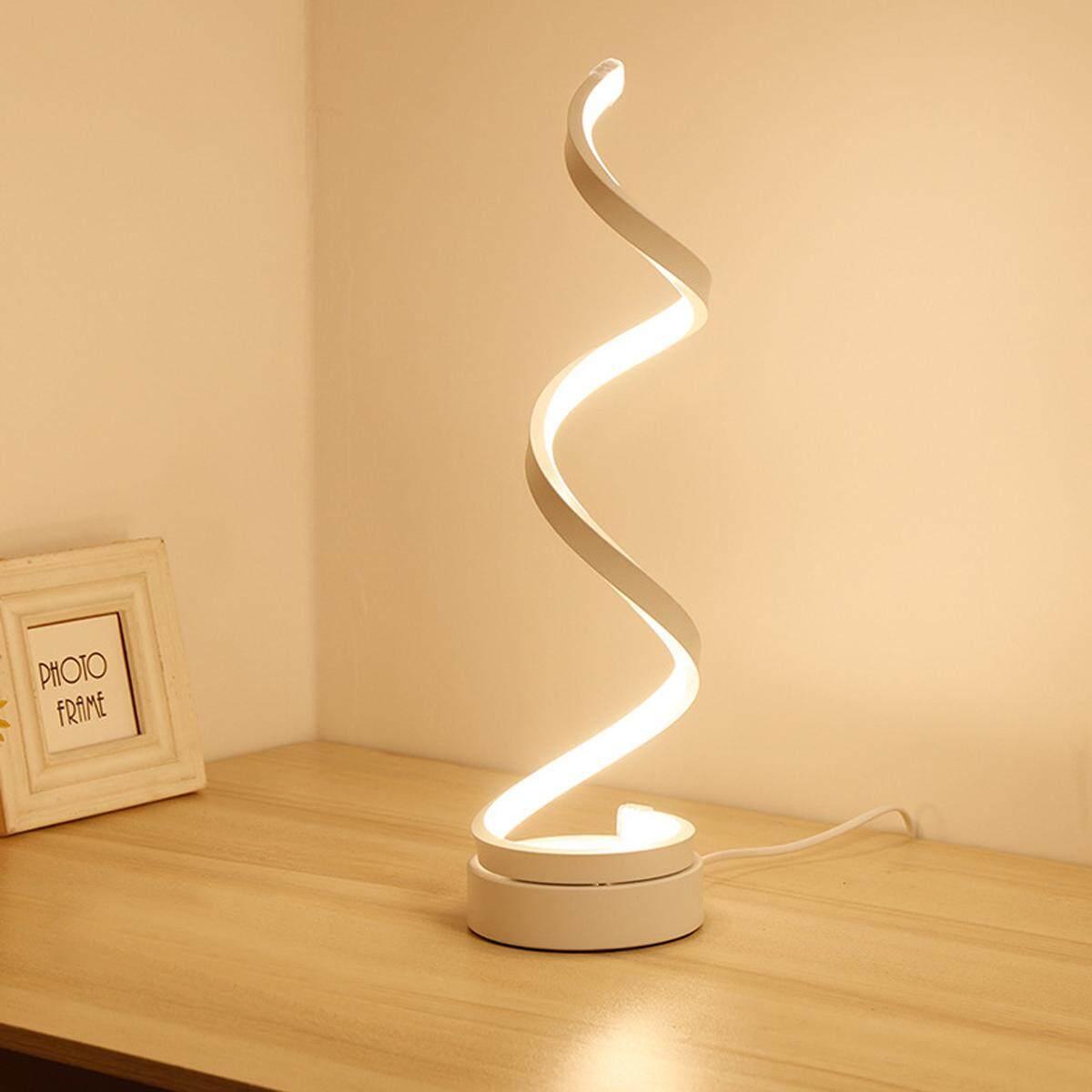 Spiral Modern LED Table Lamp 24w Warm White Decorative Bedroom Light Golden [White - Warm Light (US Regulations)]