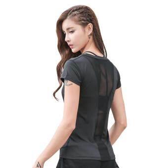 Review of Wanita Yoga Lengan Pendek T-shirt Menyambung Jaring Buka Kembali Bernapas Cepat Kering