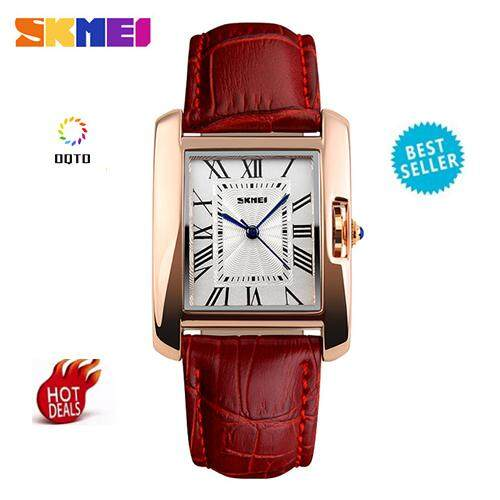 [100% Genuine]SKMEI TOP Brand Fashion Women Watches Luxury Quartz Casual Leather Watch Analog Strap Waterproof Lady Watches Woman 1085