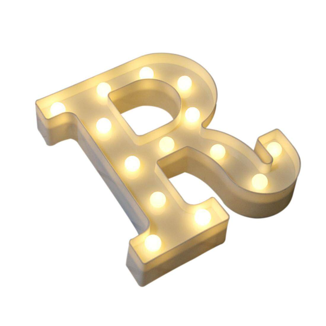 360DSC Huruf Alfabet LED Lampu Bohlam Simbol Lampu Dekorasi untuk Dinding Dalam Ruangan .