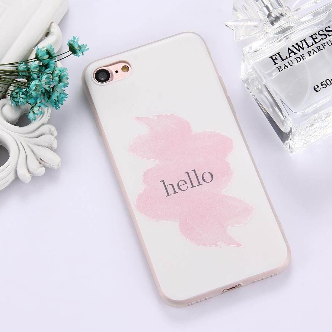 Untuk iPhone 8 & 7 Tpu Frosted Timbul Hello Kata Pola Pelindung Case Penutup Belakang-Intl