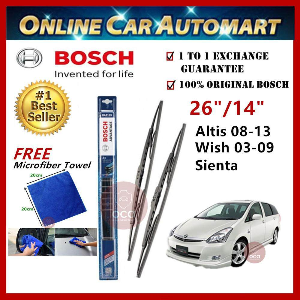 Toyota Wish Yr2003 - Bosch Advantage Wiper Blade (Set) - Compatible only with U-Hook Type - 26 inch & 14 inch