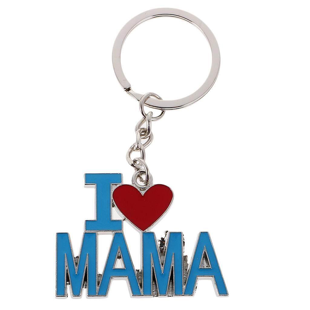 MagiDeal Modern I Love Parent Pendant Alloy Key Ring Bag Decoration Blue Red Mama