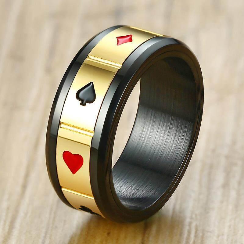 Kemstone Kepribadian Berlapis Emas Warna Hitam Titanium Baja Kartu Bermain Cincin untuk Pria - 2