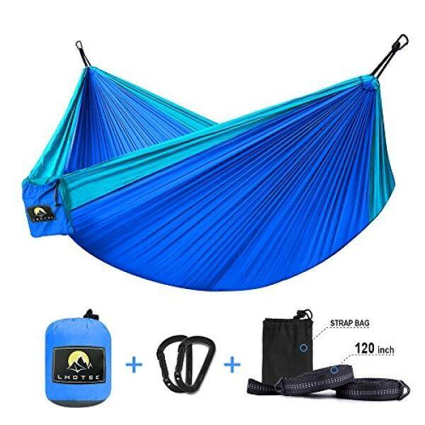 LHOTSE Best Quality Portable Hammock - 1000lbs Strong Capacity, 120 Long Tree Straps, Lightweight Parachute Nylon Hammock for Backpacking, travel, camping, beach - intl