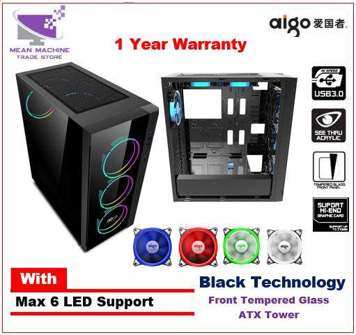 Aigo Black Technology ATX Tempered Glass Gaming Chassis Malaysia