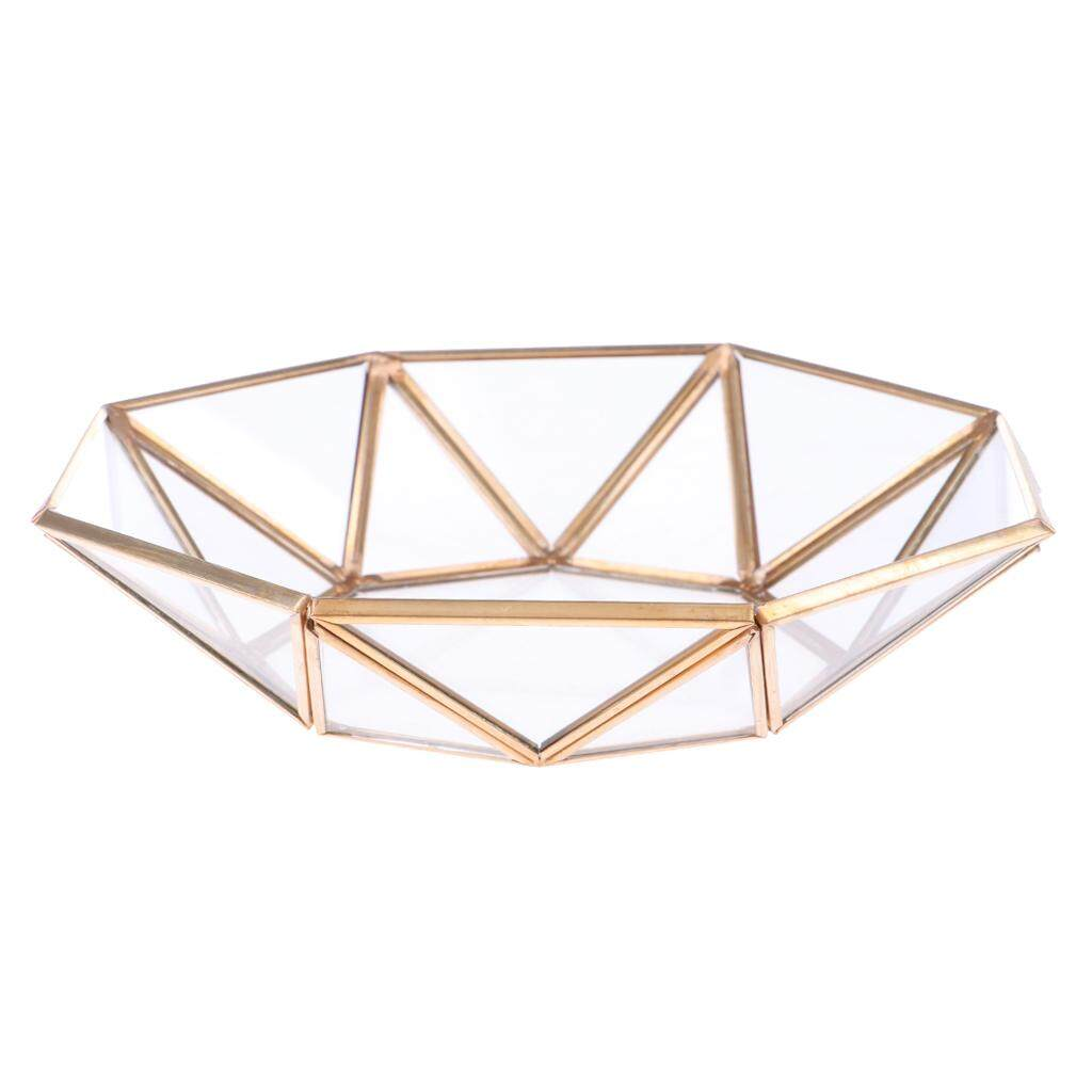 BolehDeals Geometric Terrarium Glass Jewelry Organizer Jewelry Tray Succulent Planter Table Decoration