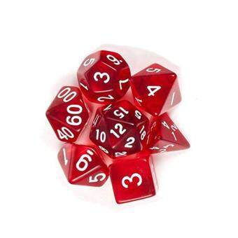 LumiParty 7Pcs/Set Translucent Polyhedral Dice Set for Dungeons Dragons  Pathfinder D&D RPG (D4 D6 D8 D10 D12 D20 D%) Style:red