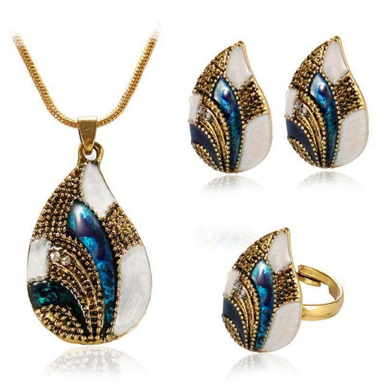 Linfang Perhiasan Perempuan 4 Pcs Set Elegan Berlian Klasik Kalung Cincin Anting