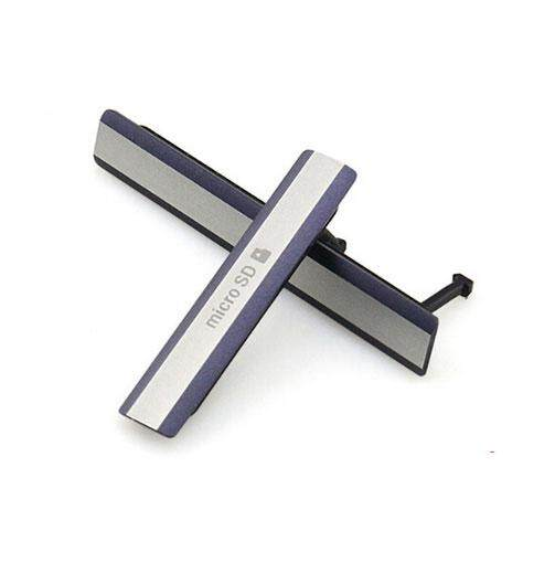 Micro USB Sim Card SD Memory Card Slot Cover Cap Repair for Sony Xperia Z2 D6503 - White/Black
