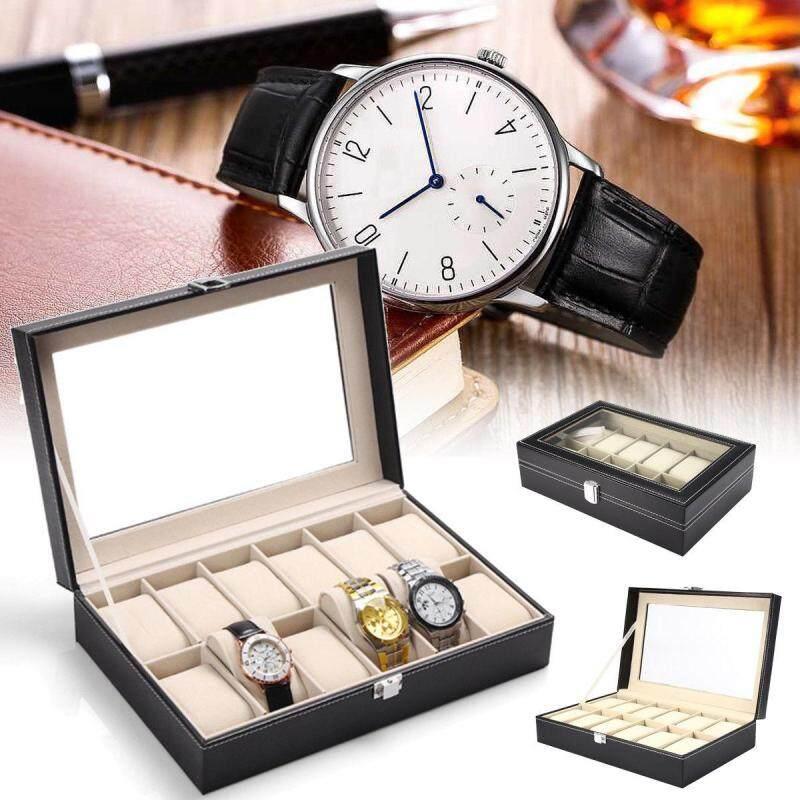 12 Slot PU Leather Watch Box Display Kotak Jam Malaysia
