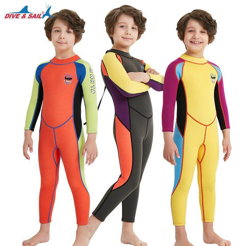 b1ba8be7f119 Boys 2.5MM Neoprene Thermal Wetsuit Anti-UV Full-body Keep Warm Diving Suits