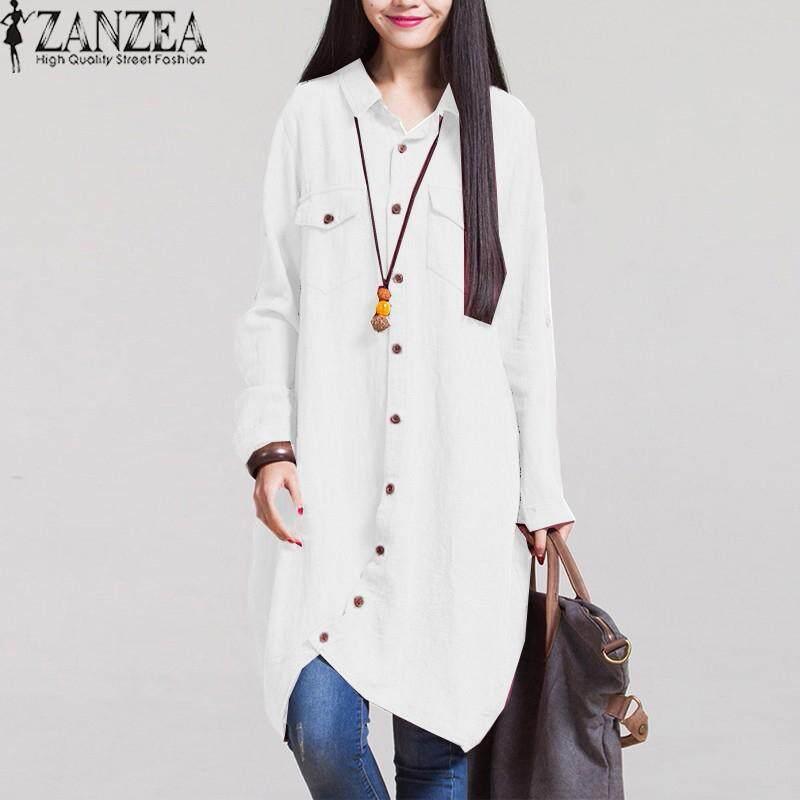 ZANZEA Women Autumn Vintage Lapel Cotton Long Shirts Casual Loose Full Sleeve Irregular Blouses Tops Plus Size Blusas White