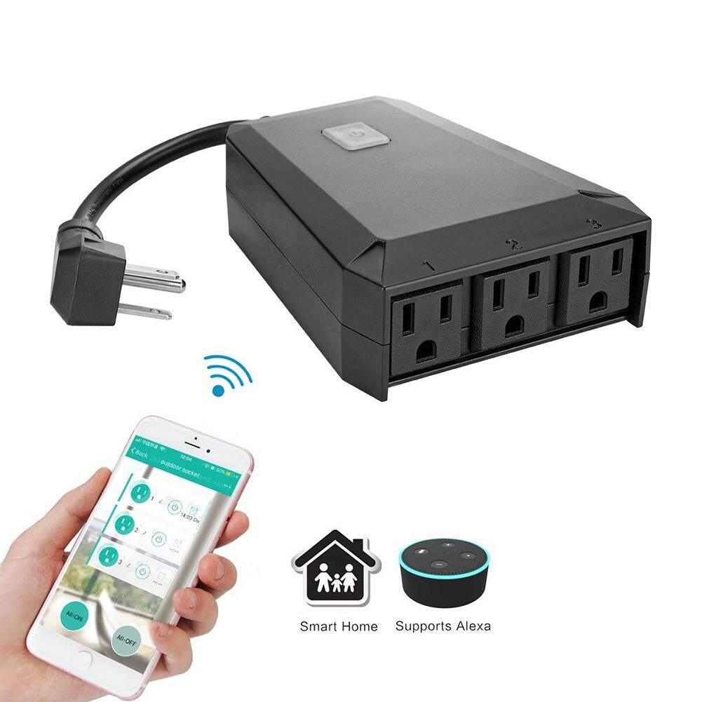 3 Outlet Remote Control Convenient Waterproof WIFI Portable Wireless Smart Plug
