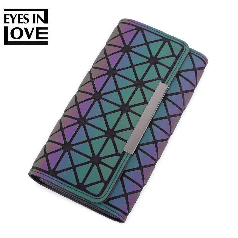 Creative Women Purse Long Clutch Noctilucent Geometry Luminous Zipper Wallets For Ladies By Kerry Trading.