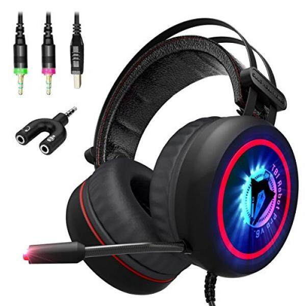 [Baru 2018 Upgrade] Headset Game dengan MIC untuk PC, Xbox One S, PS4 Nintendo, LAPTOP Terbaik 7.1 Suara Stereo Keliling, noise Cancelling-Lembut Bernapas Kabel Over-Ear Headphone Game-USB LED-Internasional