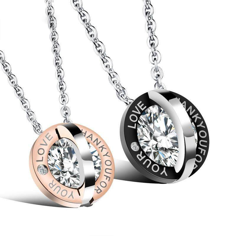 A Pair Lovers Couples Diamond Necklaces Male 316l Stainless Steel Chain Ip Gold Plating Pendant Jewelry For Men Women By Sunriseofficial.