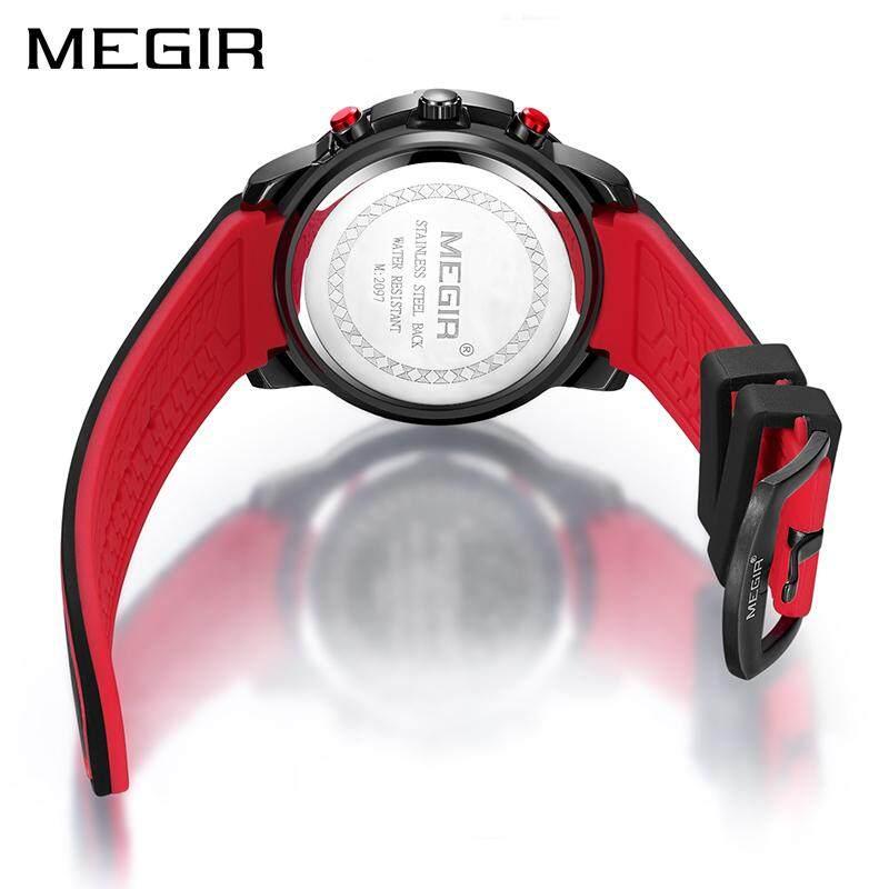Kronograf Megir Jam Tangan Sport Laki Laki dengan Gesper Silikon Big Dial QUARTZ Militer Jam Tangan Pria Relogio Masculino - 3