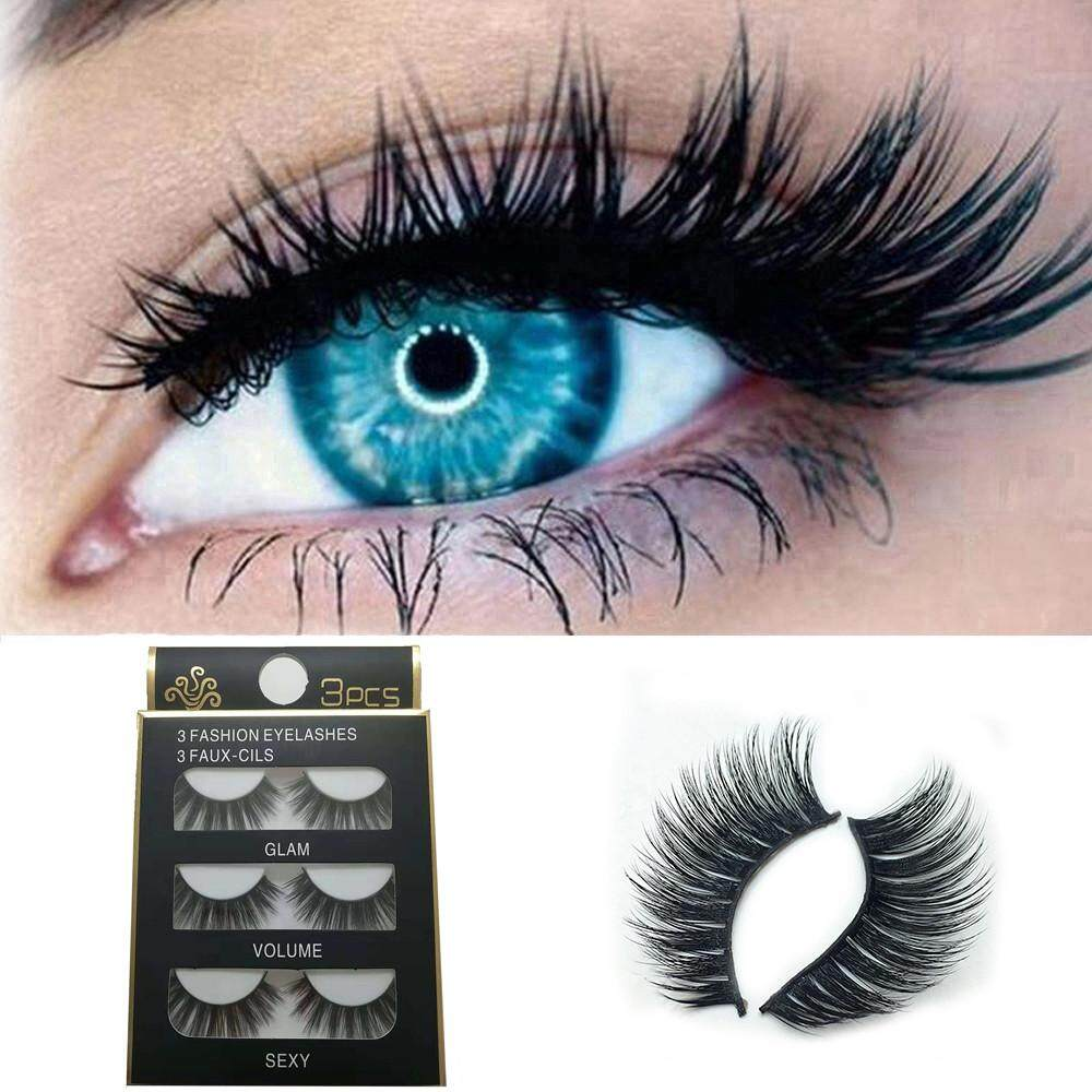 Lion 3pair Luxury 3d False Lashes Fluffy Strip False Eyelashes Long Naturally Party By Lion Mei Store.