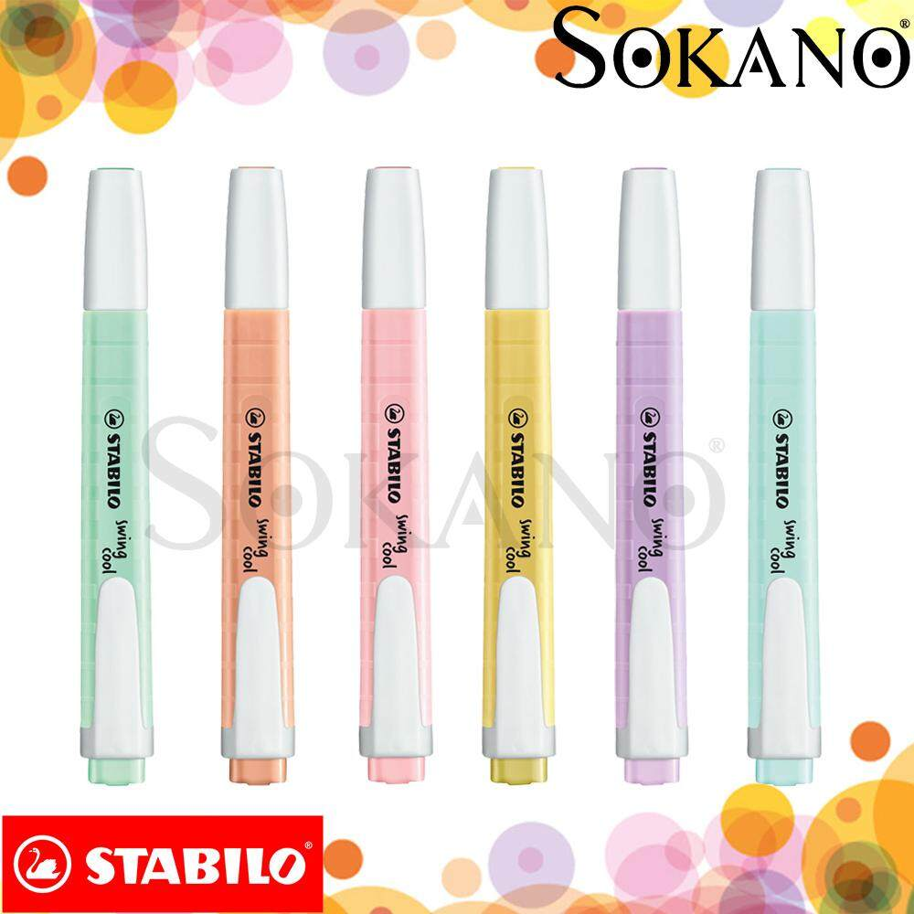 STABILO Swing Cool Pastel Highlighter Highlight Pen with Pocket Clip (6 colors)