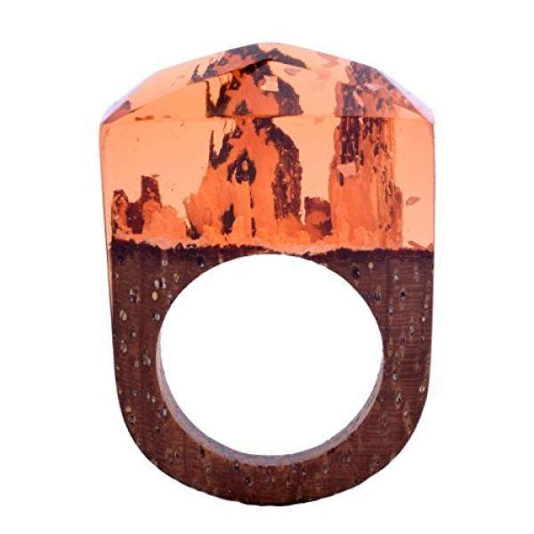 Handmade Wood Resin Rings Enchanted Forest Snow Worlds Inside Ring Jewelry For Womens (Orange, 7) - intl