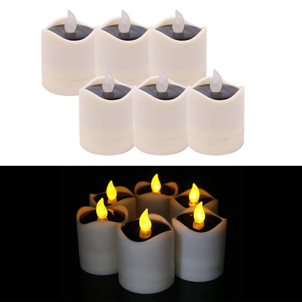 OrzBuy (IN STOCK) 6pcs Solar Power Flickering Waterproof LED Flameless Candle, Operated Tealights, Smoke-Free For Wedding, Birthday, Party Decoration, Outdoor Hiking Camping Christmas - intl